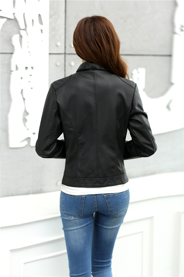 18 Fashion New Women's Jacket European Fashion Leather Jacket Pimkie Cleaning Single PU Leather Motorcycle Temale Women's Leat 6