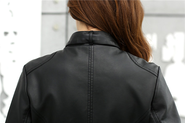 18 Fashion New Women's Jacket European Fashion Leather Jacket Pimkie Cleaning Single PU Leather Motorcycle Temale Women's Leat 8