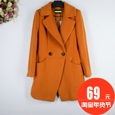 Di series ● brand discount Women's 2016 winter new double-breasted long woolen jacket W752308
