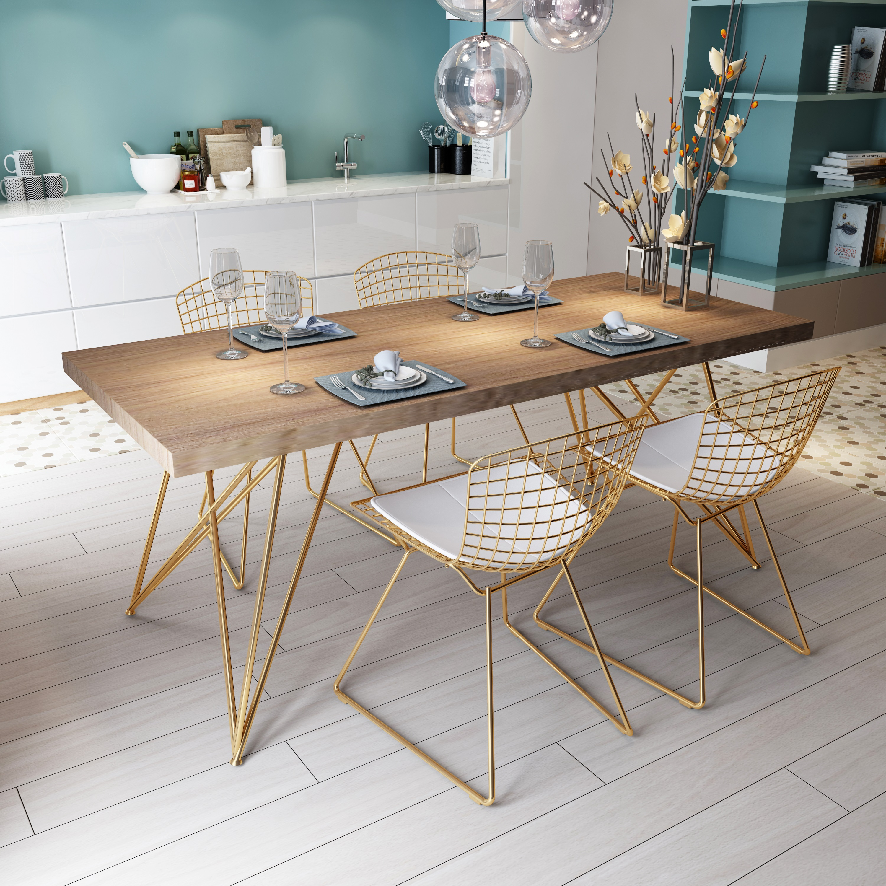 Nordic Solid Wood Dining Table Modern Simple Light Luxury And Chair Combination Small Apartment Household Marble