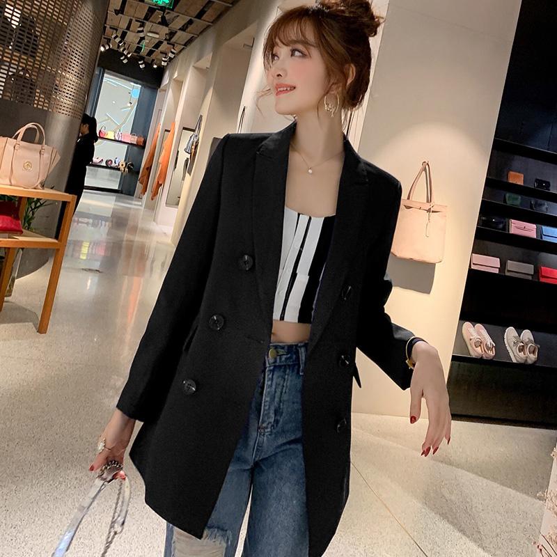 43 2019春夏新款韩版女装时尚中长款修身西装外套女士小西装女
