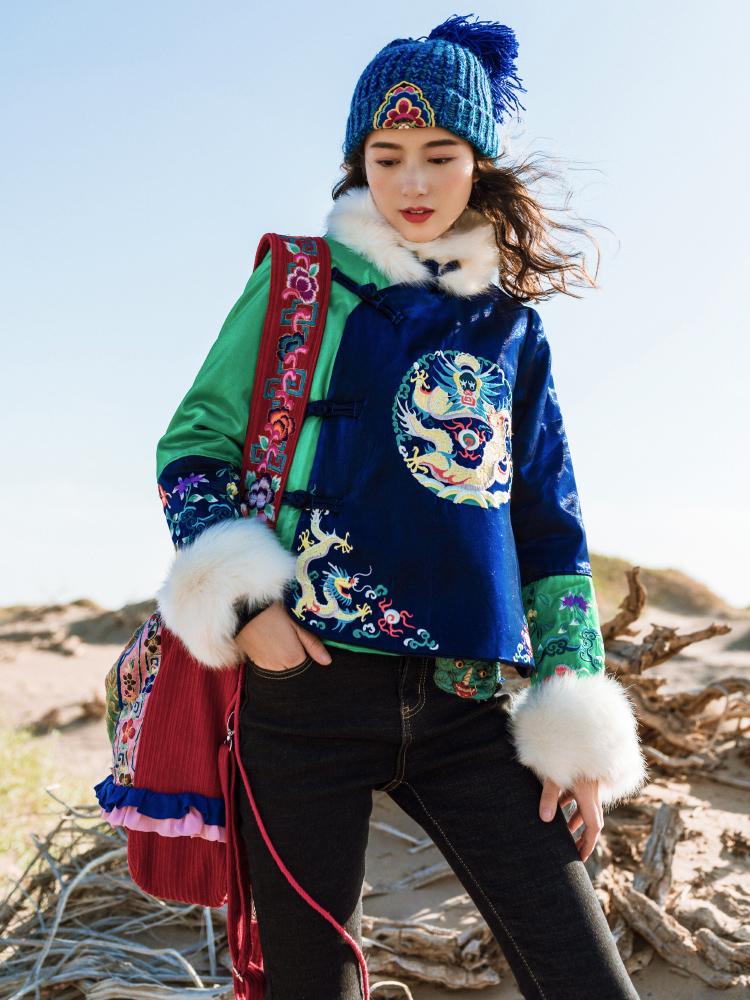 预售素萝 珑璁 原创民族风女装新款冬季短款外套撞色刺绣立领棉服