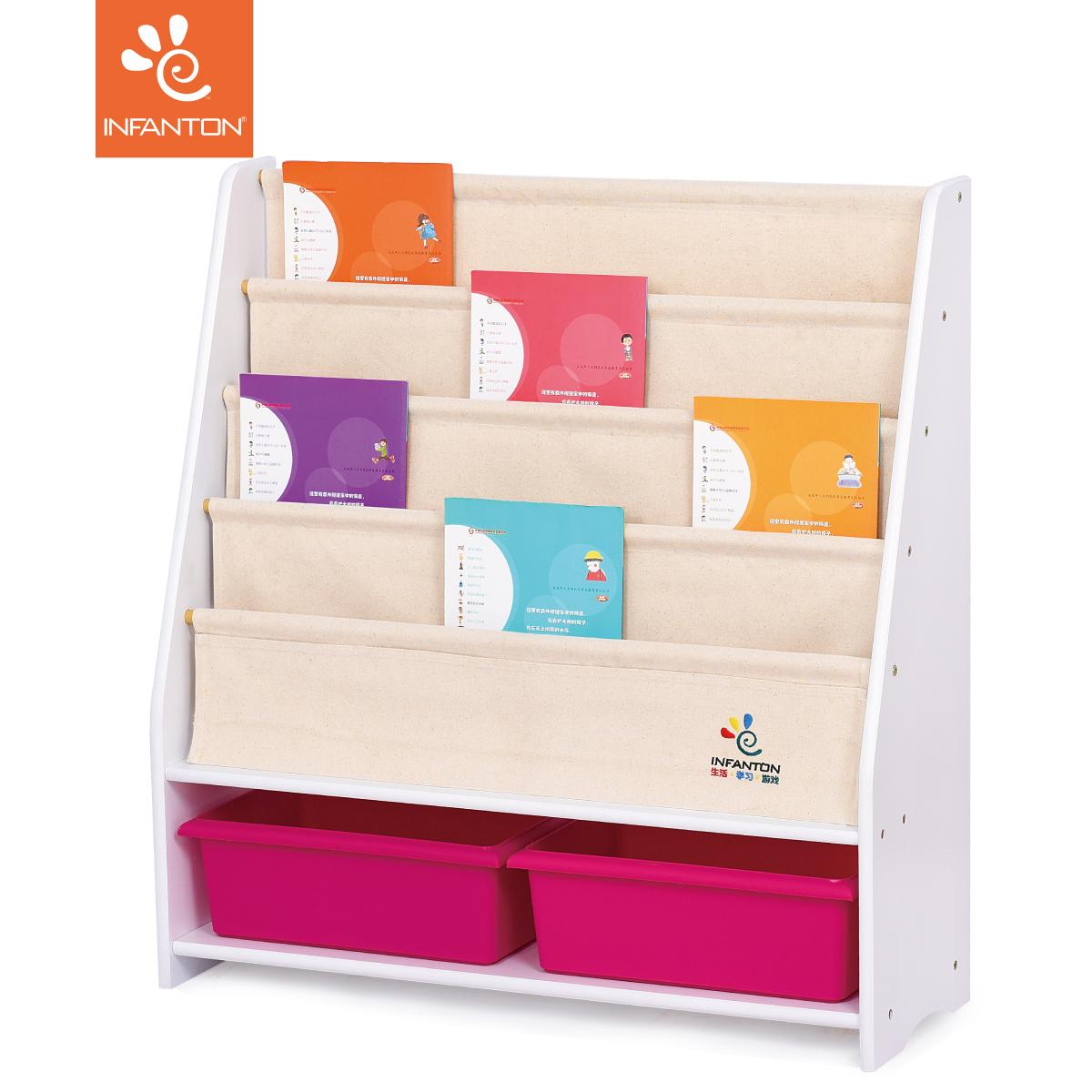 Infanton White Baby Bookshelf Childrens Solid Wood Kindergarten Book Holder Painted