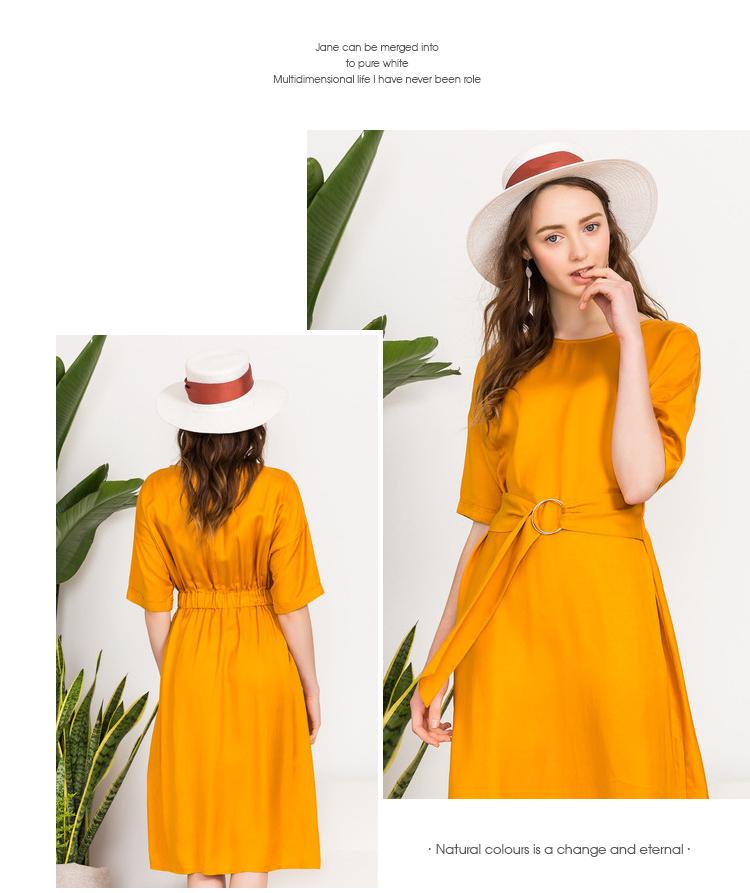 Ba màu 2018 mùa hè mới vòng cổ vai tay áo đàn hồi vòng eo với màu rắn ngắn tay đầm nữ