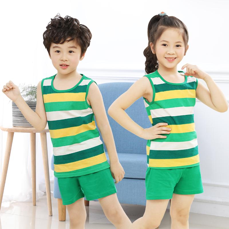 儿童背心夏季薄款纯棉男童跨栏坎肩卡通女童吊带小孩宝宝短裤套装