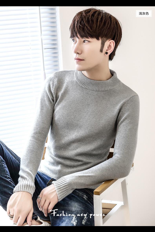 Nam cao cổ áo len mùa thu và mùa đông mỏng thanh niên cộng với nhung dày ấm áo len Hàn Quốc phiên bản của xu hướng là đẹp trai