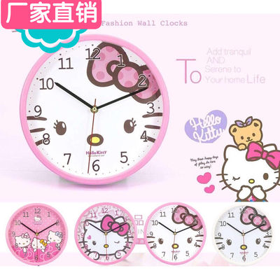 Hellokitty Kati Cat Clock Table Simple Personality Creative Cartoon Cute Silent Bedroom KT Children's Room Storage Clock