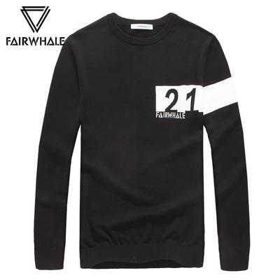 Mark Hua Fei áo len nam mùa thu đông mới áo thun cổ tròn nam áo len mỏng Áo len xu hướng quần áo nam - Hàng dệt kim