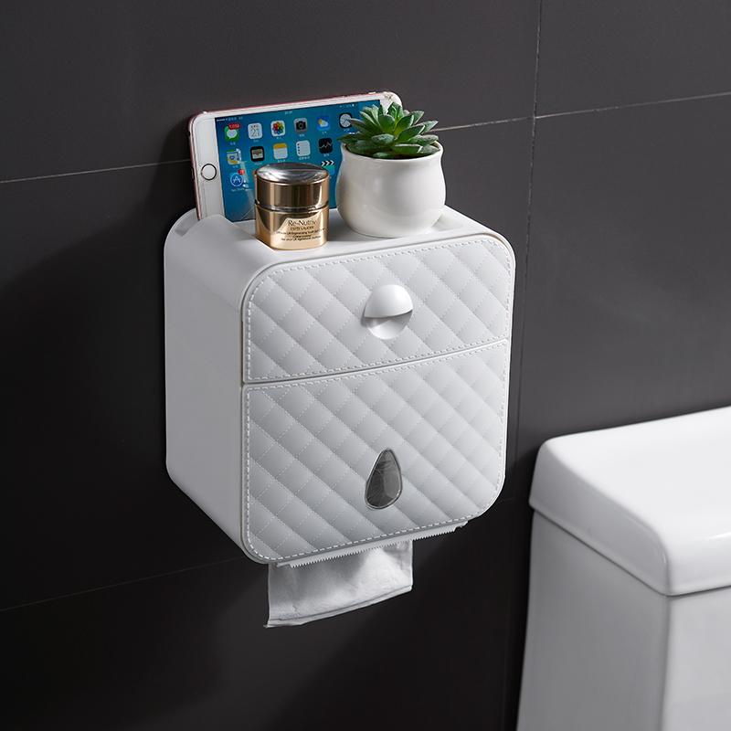 厕纸厕所盒创意免打孔纸盒盒多功能壁挂式防水纸巾架卫生间抽纸巾