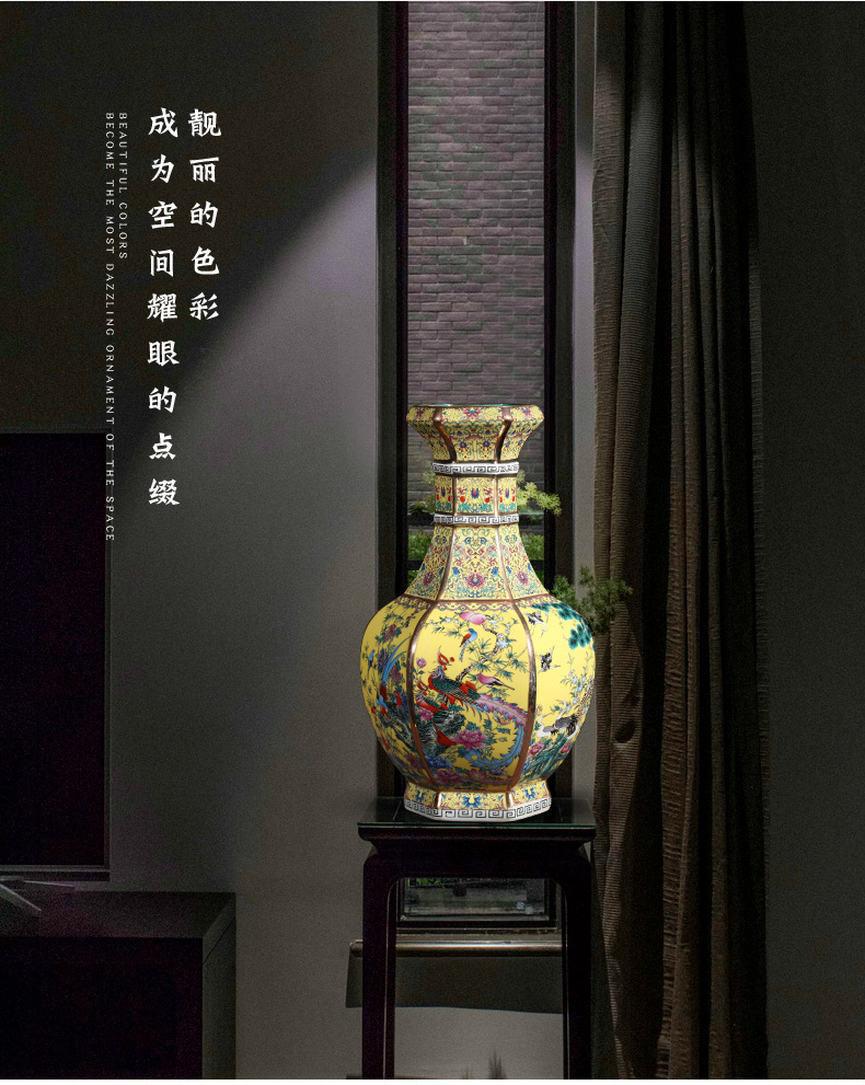 Jingdezhen ceramics imitation qianlong colored enamel vase sitting room home decoration wine rich ancient frame handicraft furnishing articles