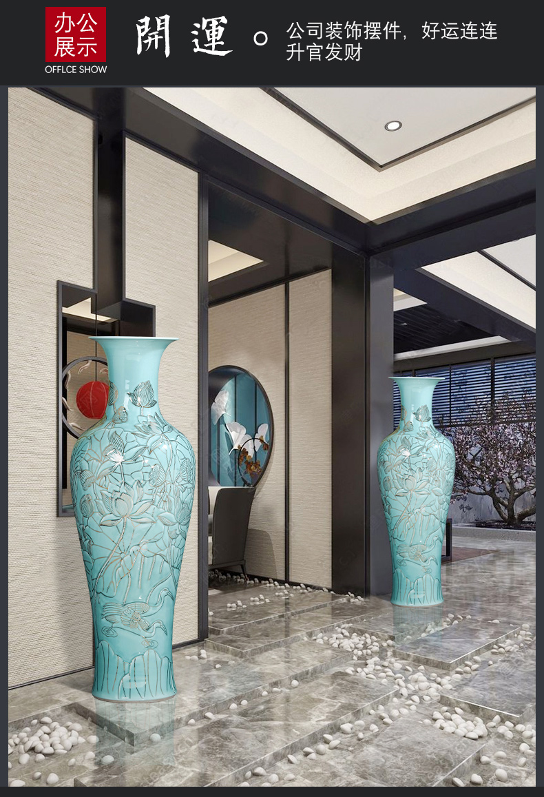 Jingdezhen chinaware paint carvings of large vase high furnishing articles of Chinese style hotel opening large sitting room adornment