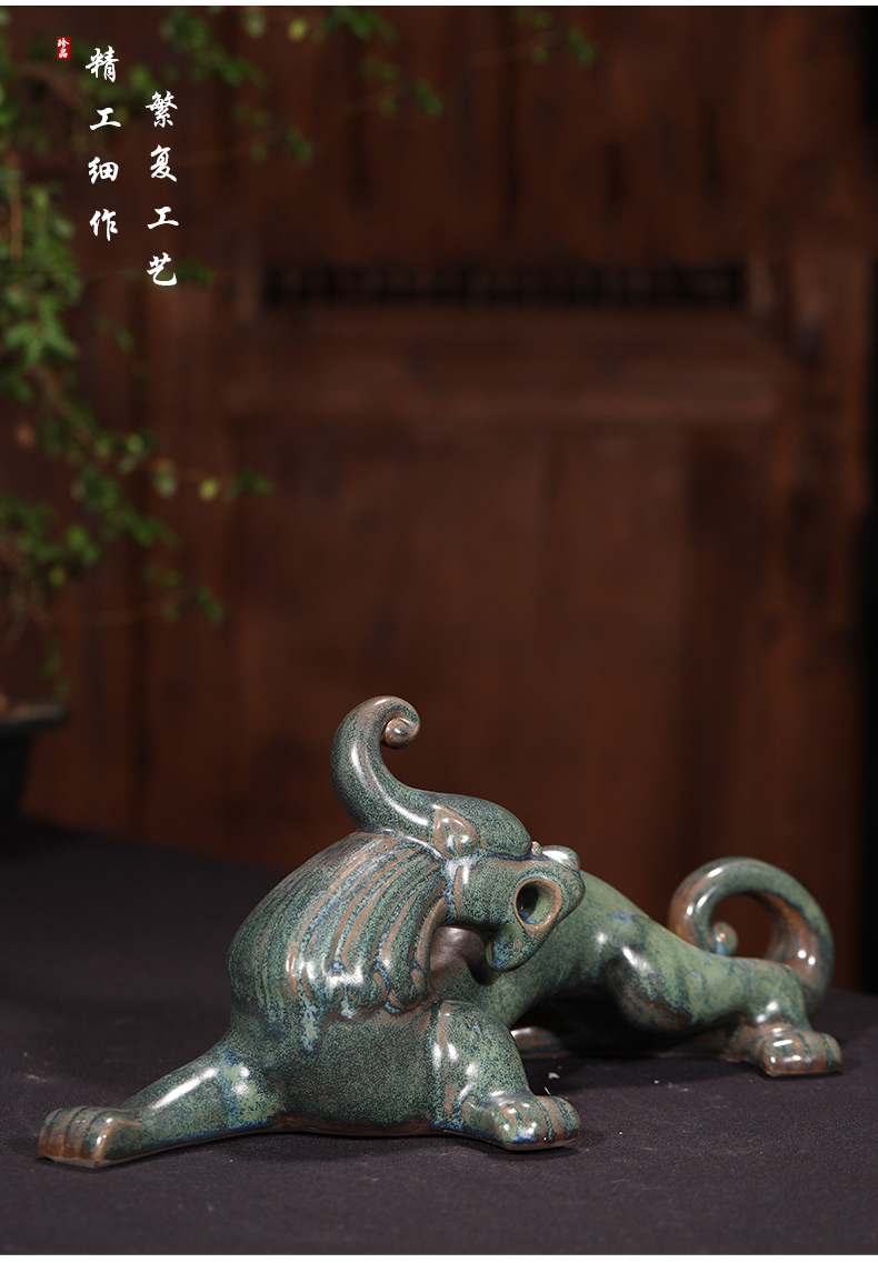 景德镇仿青铜陶瓷器雕塑龙摆件新中式客厅装饰工艺品风水摆设