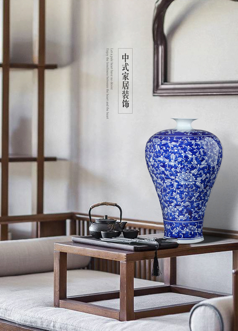 Jingdezhen ceramics antique hand - made large blue and white porcelain vase flower arrangement sitting room of Chinese style household adornment furnishing articles