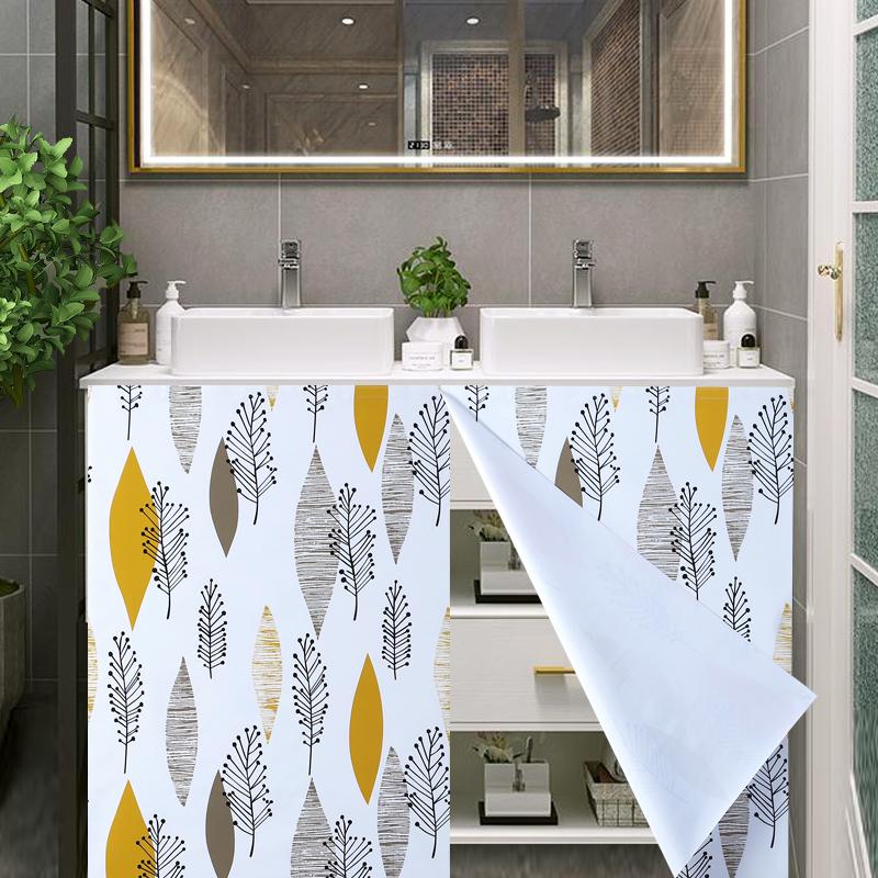 北欧ins浴室柜防水帘简约卫生间橱柜遮挡布洗手池台柜子帘