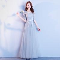 Платье невесты зимний 2018 новая коллекция корейская версия Банкетная ночь серый Тонкая юбка платья невесты для групповой вечеринки женского пола