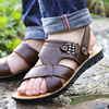 Men's leather sandals 2018 new summer beach shoes slippers men's large size soft bottom dad leather sandals men's trend