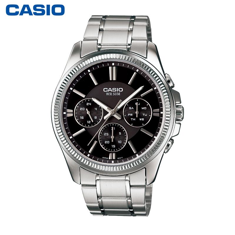 卡西欧手表男MTP-1375D/1374D男士钢带腕表防水石英表旗舰店官网