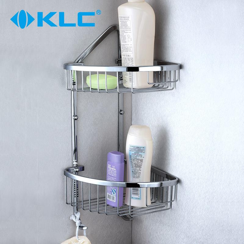 KLC全铜加厚双层带钩浴室角架 纯铜置物架角栏转角网篮WL24
