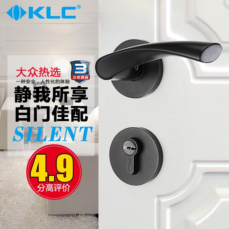 KLC門鎖室內臥室房門鎖歐式簡約門把手實木靜音黑色門鎖三件套