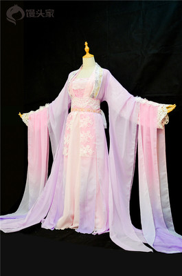 taobao agent Steamed buns cosply costume female flower thousand bone ginger Shenyu Jinque new style pink purple gradient gorgeous ancient costume ancient style