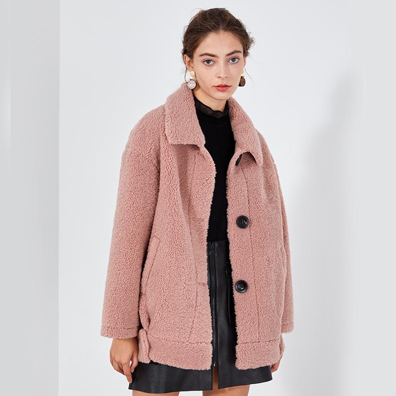 peoleo飘蕾2019冬季新款俏皮时尚颗粒绒短外套女保暖显瘦百搭大衣