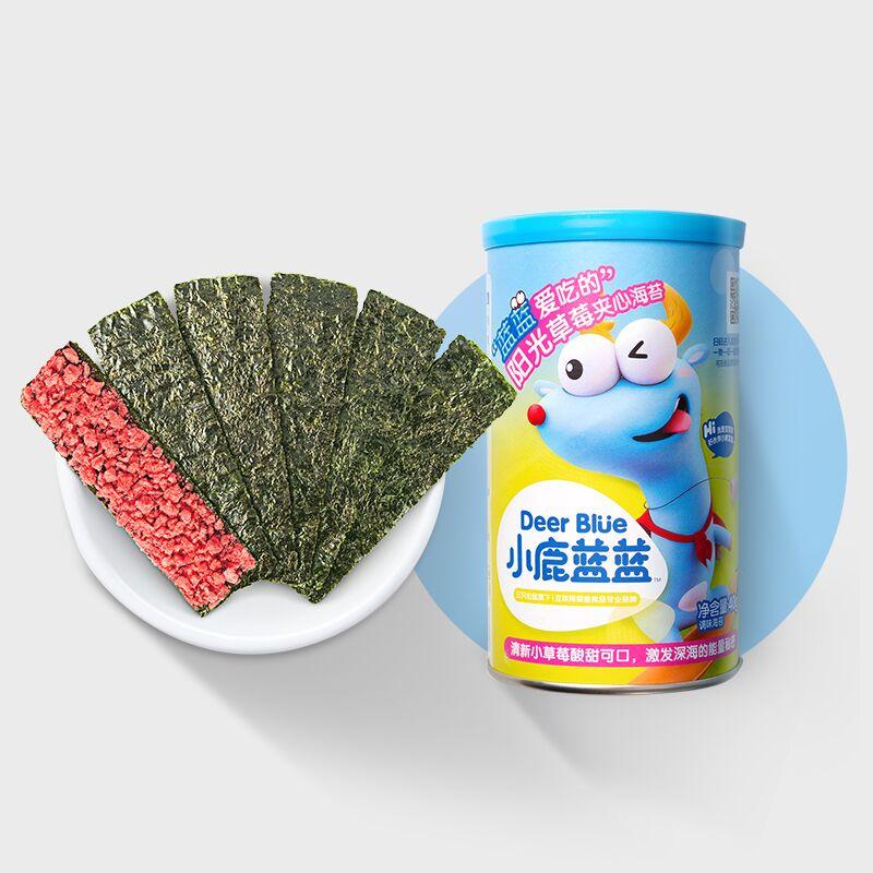 【小鹿蓝蓝_草莓味海苔夹心脆】宝宝儿童孕妇即食零食海苔碎脆片
