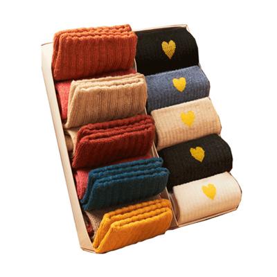 日系加绒加厚保暖中筒长袜5双