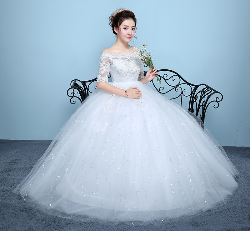 Korean wedding 2018 new shoulder pregnant wedding straps big size ...