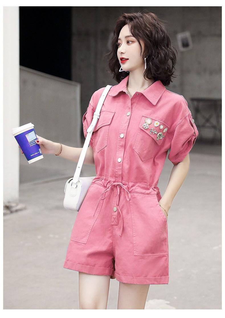 牛仔连身裤女夏季韩版宽鬆收腰显瘦小个子休閒连身裤短裤套装详细照片