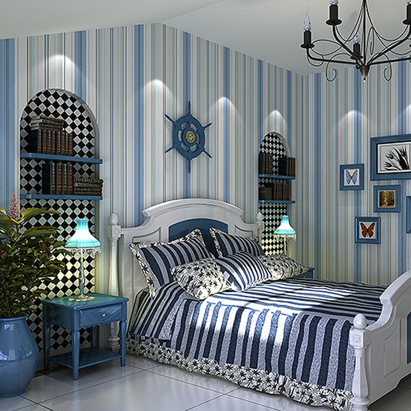 . T non woven wallpaper Mediterranean stripes fashion simple bedroom  wallpaper modern living room Girl Child room wallpaper
