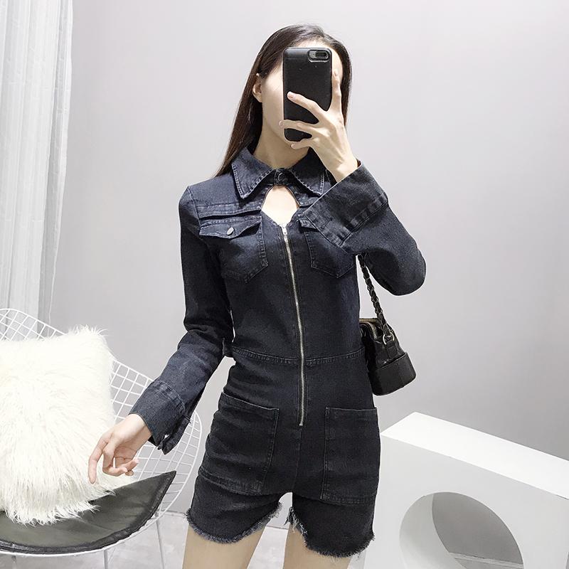 高腰显瘦黑色牛仔连体裤女2018新款韩版矮个子紧身短裤子秋季长袖