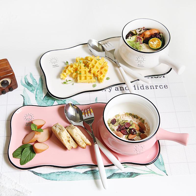 Tay cầm bằng gốm bát một người ăn sáng bữa sáng dao kéo đặt bát mì ăn liền bát ngũ cốc bát súp bát đĩa salad bát có tay cầm bát - Đồ ăn tối