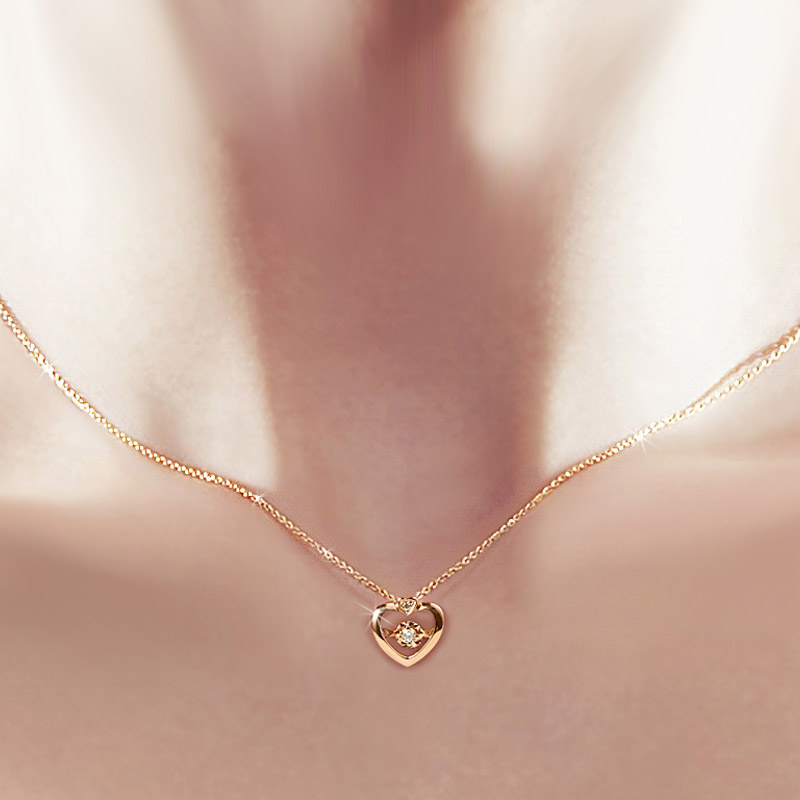 Usd 335 36 Jewelry Genuine 18k Gold Rose Gold Gold Gold Gold Clavicle Chain Girl Beating Heart Diamond Necklace Pendant 18k Gold Chain Wholesale From China Online Shopping Buy Asian Products