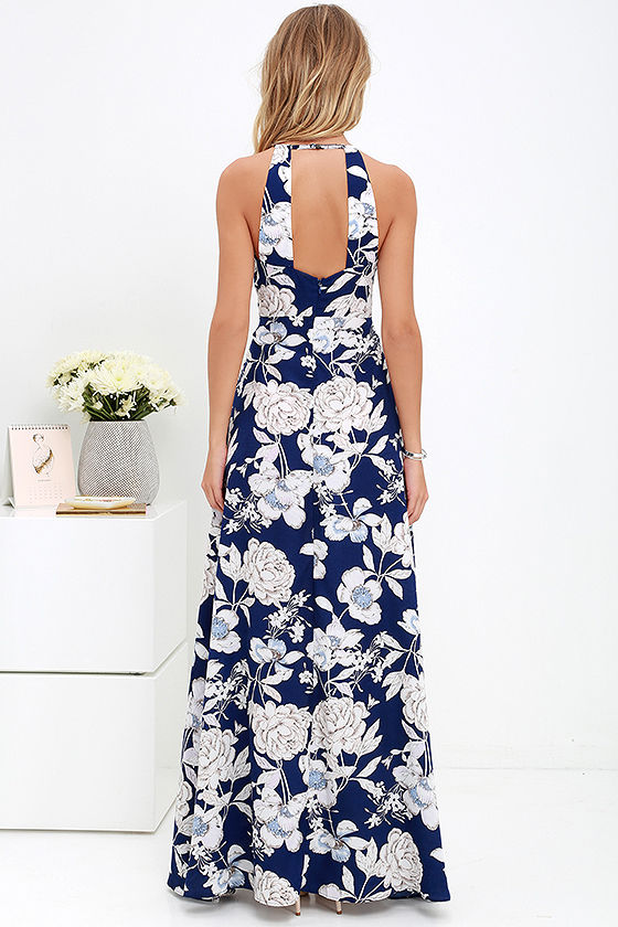 LASPERAL Womens Summer Maxi Dresses New Arrival Ladies Boho Dress Sleeveless Blue Halter Neck Floral Print Vintage Long Dress 8
