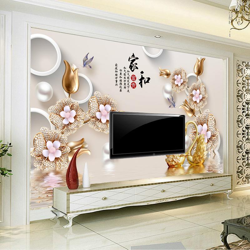 中式壁纸墙布卧室客厅画3D背景影视5d墙纸墙无缝立体沙发墙壁电视
