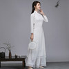 Spring and summer new white Chinese style improved cheongsam style Zen tea dress