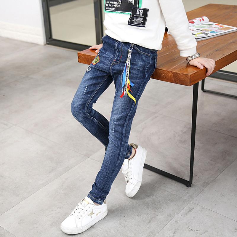 Детское на мальчика джинсы 2018 демисезонный новая коллекция корейская версия волна детские джинсы для отдыха брюки детские Осенние брюки