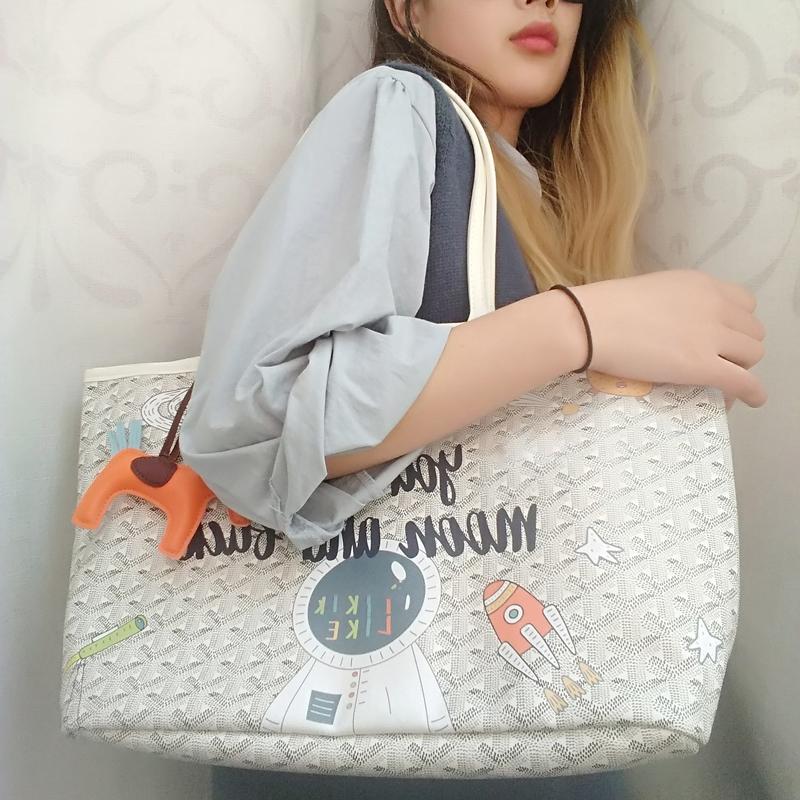 涂鸦狗牙包韩国包包女2020新款水桶包大容量购物袋单肩妈咪子母包