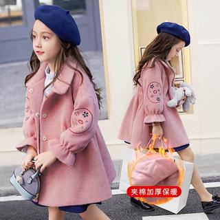 Девочки шерстяные пиджак 2018 в новый длинная модель осень и зима корейский фошаньский университет ребенок шерстяной большие шерстяные одежда западный стиль толстый, цена 1469 руб