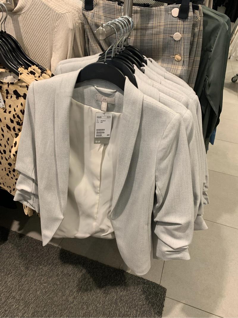 040830HM Phụ nữ mua trong nước chính hãng Mùa thu màu xám Slim dài tay màu xanh lá cây Cổ áo blazer 0708138 - Business Suit