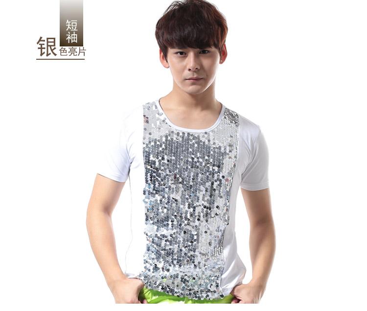Moderator hiệu suất giai đoạn quần áo mỏng sequin cotton ngắn tay T-Shirt DS ngắn tay nam DJ điệp khúc trang phục