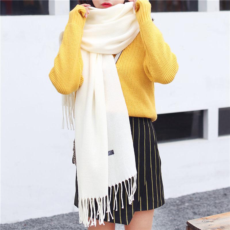 新款纯色围巾女士冬季韩版长款百搭流苏围脖秋冬天披肩围巾两用女