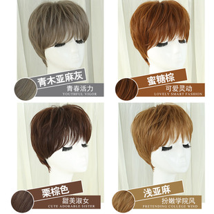 The charm of silk Adele fluffy wig hair Bobo handsome female head short straight hair and natural force.