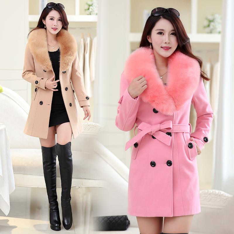 秋冬韩版大毛领女士大衣中长款大码毛呢外套修身显瘦加厚夹不起球