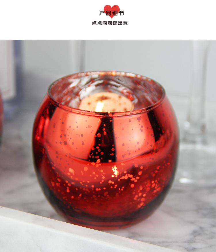 熱銷#喜慶浪漫紅色斑點玻璃圓球燭臺 婚慶燭光裝飾道具送電子蠟#燭臺#裝飾