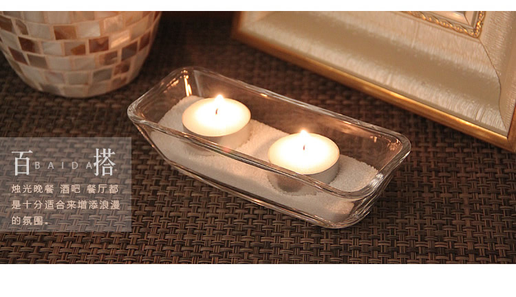 熱銷#簡約透明長方船形玻璃燭臺浪漫燭光晚餐酒吧餐廳裝飾擺設送蠟燭#燭臺#裝飾