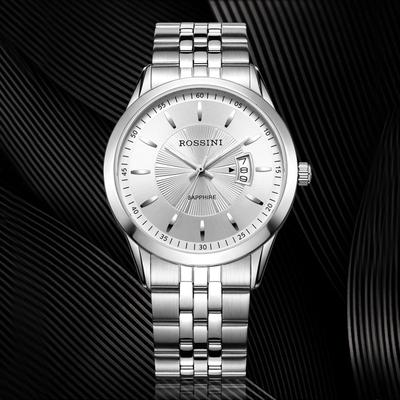 罗西尼启迪系列正品手表男时尚日历防水石英表钢带男士手表514631