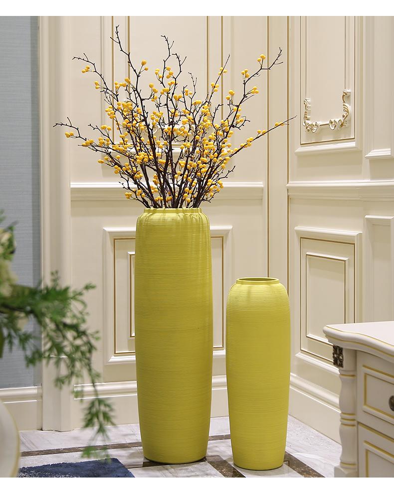 Nordic yellow wind simulation flower flower vase landing large sitting room adornment morandi color ceramic jewelry furnishing articles