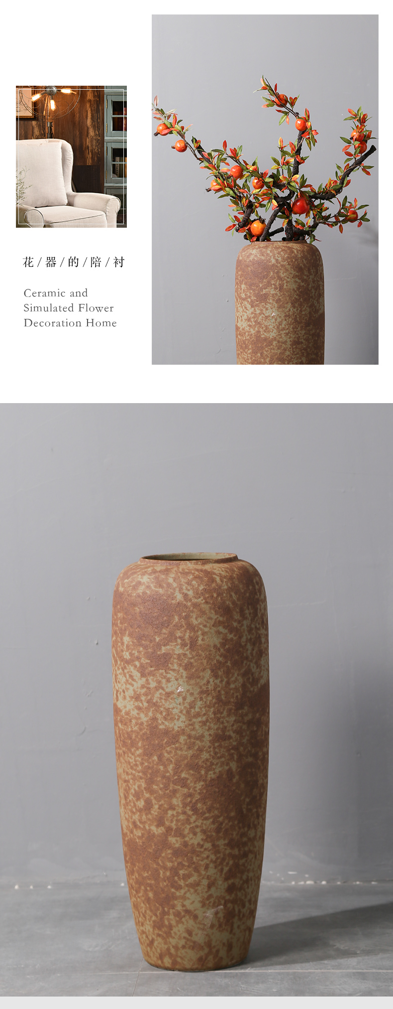 Jingdezhen ceramic vase landing Nordic I and contracted, dried flowers, flower arrangement sitting room adornment is placed to restore ancient ways pottery basin