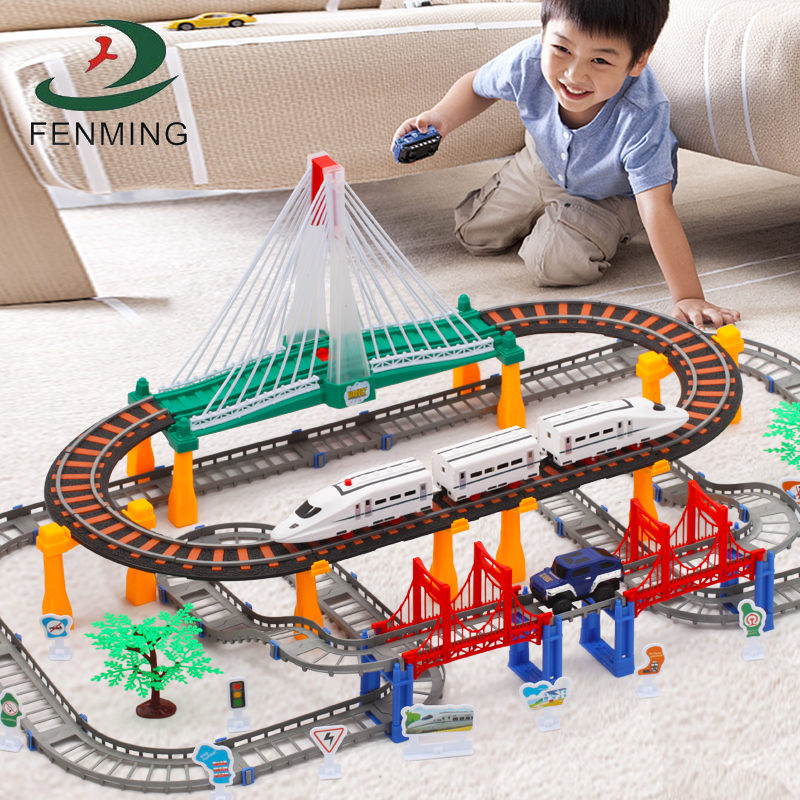 Tomatos train set track electric toy boy high-speed rail Harmony No. 3-6-8-10 years old child